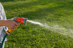 Watering the lawn Stock Photos