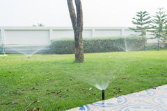 Watering the lawn. Garden irrigation system watering lawn Stock Photography
