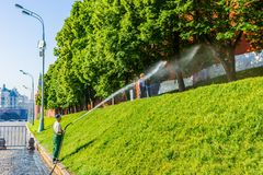 Watering the lawn by the Moscow Kremlin wall Stock Photography