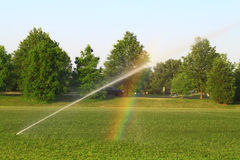 Watering Lawn. Sprinkler Watering Lawn with Rainbow Refraction Stock Photo