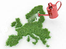 Watering lawns in the form of Europe Stock Photo