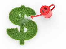 Watering lawns in the form of sign dollar Royalty Free Stock Images