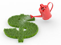 Watering lawns in the form of sign dollar Royalty Free Stock Photography