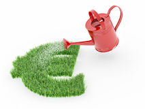 Watering lawns in the form of sign euro Royalty Free Stock Images