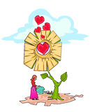 Watering the love plants flower. Woman, watering the love plants flower. illustration for valentine Stock Photo