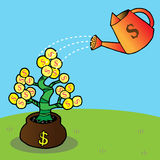 Watering a money tree. Money tree with golden coins, watering can and water drops Royalty Free Stock Images