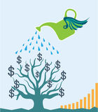 Watering Money Tree Vector art Graph dollars grow Stock Image