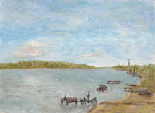 At the watering. An oil painting of a driver watering his horse by a lake Stock Photo