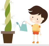 Watering Plant. Illustration of a cute boy watering a big plant Vector Illustration