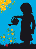 Watering the plants. Illustration of Little girl watering  plants Stock Photo