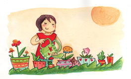 Watering plants in a sunny day royalty free illustration