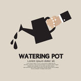 Watering pot. Hand Holding Watering pot Vector Illustration Royalty Free Stock Photo