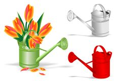 Watering pot and tulips, cdr vector Royalty Free Stock Images