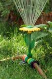 Watering sprinkler. Sunflower shaped sprinkler watering the garden Royalty Free Stock Photos