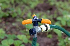 Watering system in the garden stock images