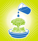 Watering tree. Watering green tree. vector illustration Royalty Free Stock Photography
