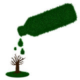 Watering tree with green grass bottle Stock Images