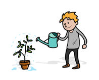 Watering the Vegetation Plant Royalty Free Stock Image