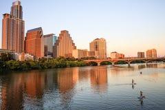 Waterkant, Austin, Texas bij zonsondergang royalty-vrije stock afbeelding