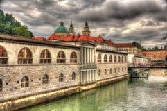 Waterkant in Ljubljana, Slovenië Royalty-vrije Stock Foto