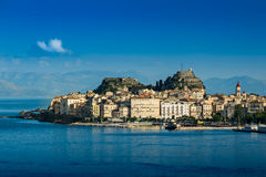 Waterkant van Korfu, Griekenland Stock Foto