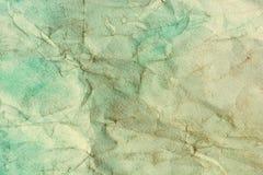 Waterkleur op oude verfrommelde document textuur abstracte achtergrond Royalty-vrije Stock Foto's