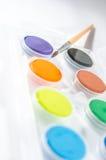 Waterkleuren met borstel Stock Afbeeldingen