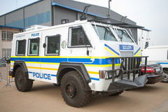 WATERKLOOF, SOUTH AFRICA - SEPTEMBER, 2016: A South African Police Service Riot Vehicle on Display Royalty Free Stock Photography