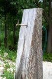 Waterkraan vast in een stuk van hout stock foto's