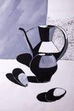 Waterkruiken en peren met een borstel worden geschilderd die Stock Afbeelding