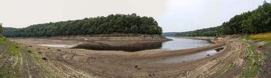 Waterless lake panoramic. Waterless lake with a cracked ground at the foreground, only a few water left at the background. Panoramic view Stock Images