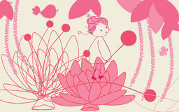 Waterlilly oriental jungle. Abstract vector illustration of girl in oriental jungle Royalty Free Stock Images