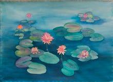 Waterlily и пусковые площадки лилии в пруде - первоначально картине акварели Стоковая Фотография