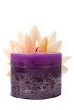 Waterlily and candle spa decor Stock Image
