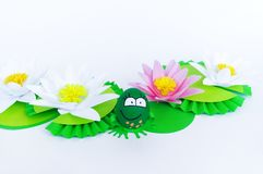 Waterlily flower made of paper. white background. Origami hobby. Gentle petal. Marsh with frogs tradition. Egg frog is green. Happy Easter stock image