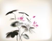 Waterlily målning vektor illustrationer