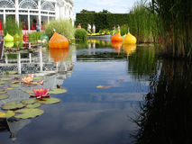 Waterlily pond in Bronx BOtanical Garden. Glass artwork in waterlily pond, Bronx Botanical Garden, NY stock photos