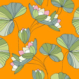 Waterlily seamless flower tropical pattern Stock Images