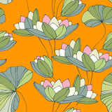 Waterlily seamless flower tropical pattern Stock Image
