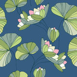 Waterlily seamless flower tropical pattern Stock Photos