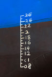 Waterline som markeras på shipen Arkivfoton