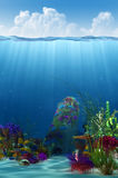 Waterline and underwater background. 3d illustration tropical fishes on the coral reef in  Sea Royalty Free Stock Images