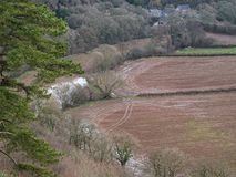 Waterlogged farmland in Devon UK. Farmland in north Devon, UK, saturated after a period of high rainfall Royalty Free Stock Photography