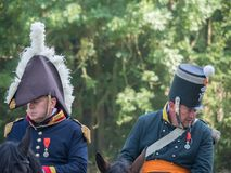 Waterloo, Bélgica - 18 de junho de 2017: Cenas do reenactment de imagem de stock royalty free