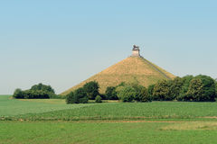Waterloo battle memorial. The famous memorial hill on the battlefield in the rolling countryside of Waterloo, Belgium, where the French emperor Napoleon was stock photo