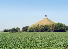 Waterloo battle memorial. The famous memorial hill on the battlefield in the rolling countryside of Waterloo, Belgium, where the French emperor Napoleon was royalty free stock photo