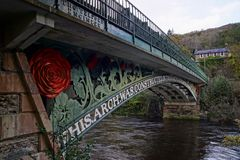 Waterloo Bridge in Betws y Coed North Wales. The Waterloo Bridge constructed in 1815 crossing the River Conwy in Betws y Coed North Wales an early cast iron royalty free stock image