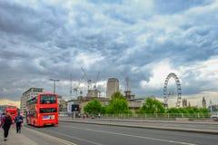 Waterloo Bridge, London, England - May 2, 2017:  View of the roa Royalty Free Stock Photos