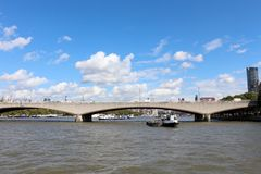 Waterloo  Bridge over the River Thames in London. Stock Photography