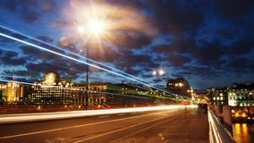 Waterloo Bridge traffic and light streams Stock Image